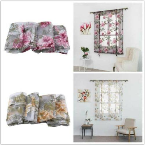 Living Room Kitchen Roman Short Curtains Tulle Burnt-out Flo