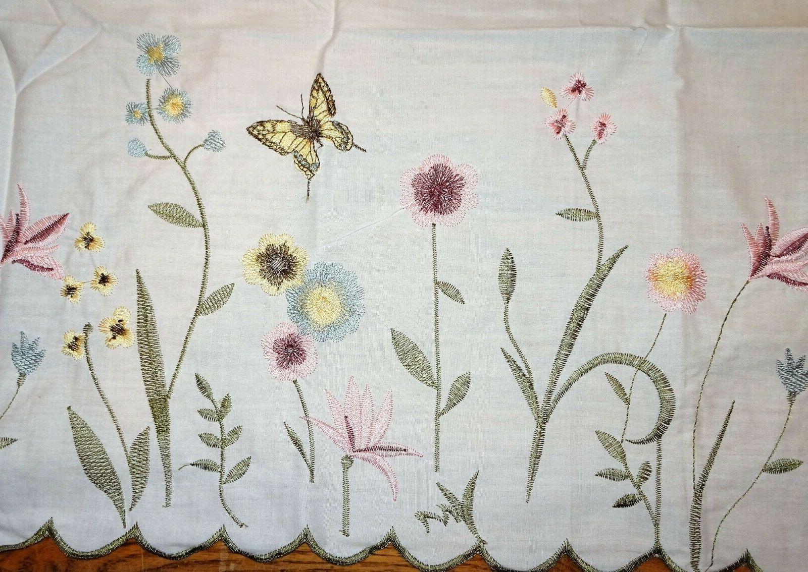 cafe curtains meadow with butterflies scallop hem