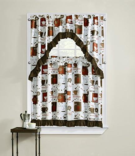 cappuccino printed tier curtain swag