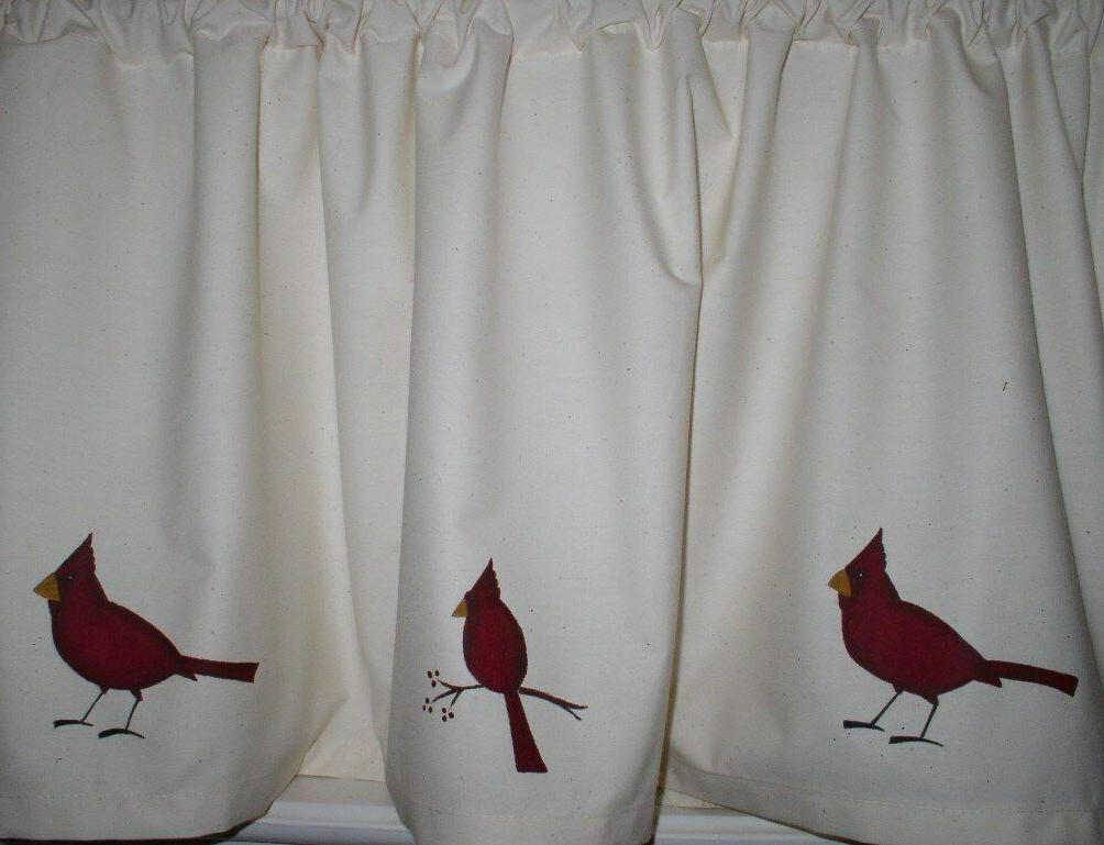 cardinals on muslin valances tiers primitive country