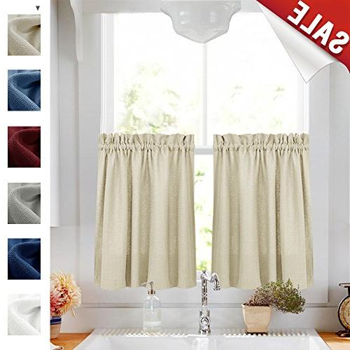 24 inch Tier Curtains Beige Casual Weave Rod