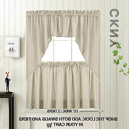 24 inch Beige Pocket Cafe Curtains Window Curtains for 2 Panels