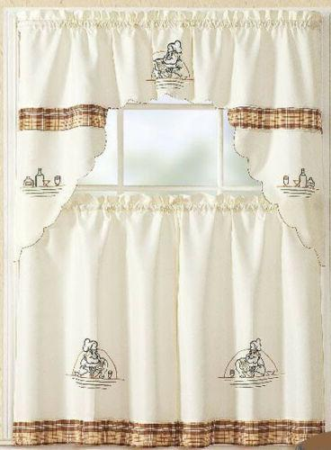 Checkered Kitchen Curtain with Tier Set 36