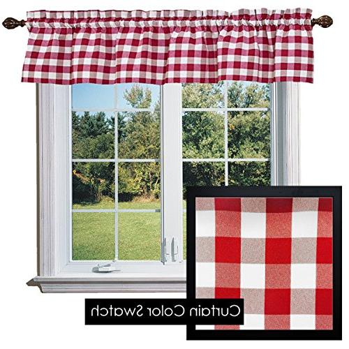 checkered polyester curtain valance