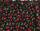 Cherries on Black Background Valance Curtain for Kitchen Win