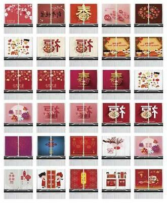 chinese new year kitchen curtains 2 panel