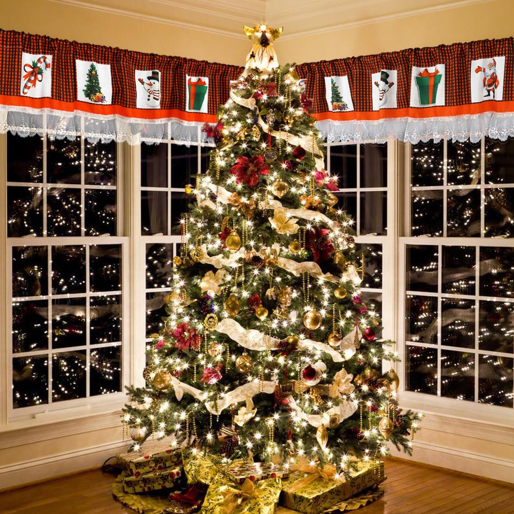 Christmas <font><b>curtain</b></font> Valance Lace Window Valances With And <font><b>Checkered</b></font> Plaid Christmas Decor For Home <font><b>Kitchen</b></font> Living
