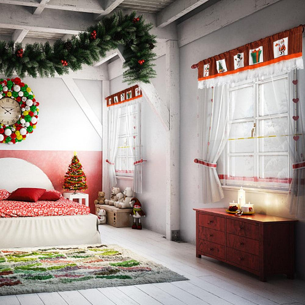 Christmas Lace Window Valances With Red And Christmas For