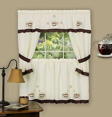 coffee cup kitchen curtain embellished cottage set