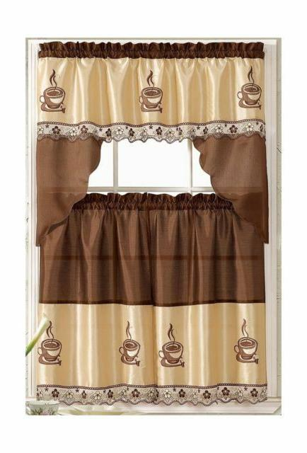 coffee embroidered kitchen curtain tiers