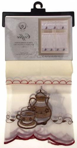 Coffee Pot Embroidered Curtain Dahdoul Home Sheer Valance
