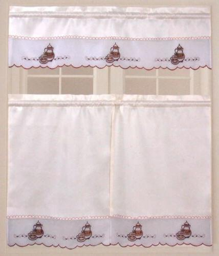 Coffee Pot Embroidered Dahdoul Home Valance