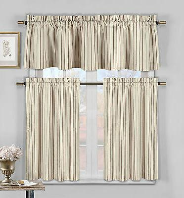 3 Pc Cotton Rich Kitchen/Cafe Tier Curtain Set: Striped, Bur