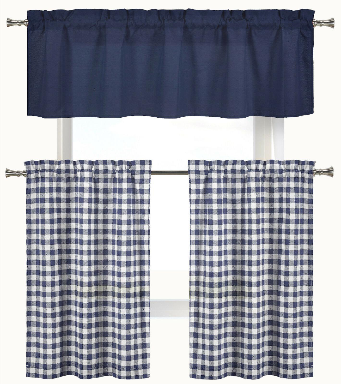 country accents 3 pc plaid gingham kitchen