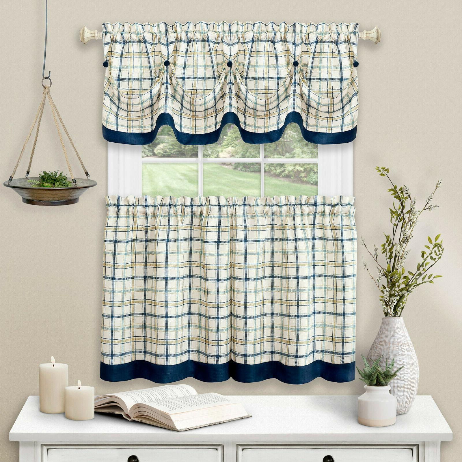 Country Pc Tattersall Cafe Curtain & Set