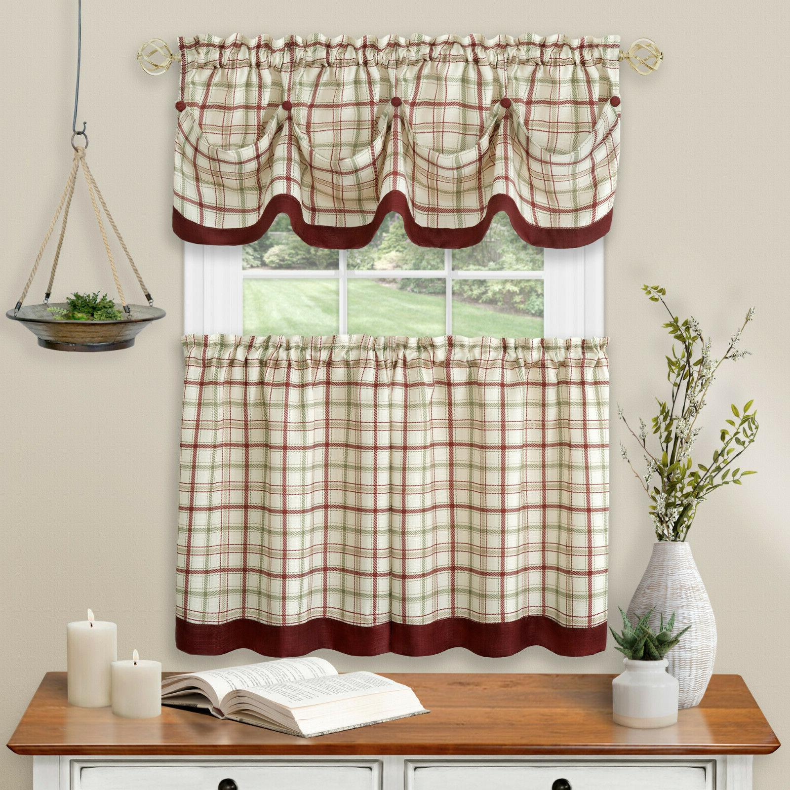 Country Farmhouse Pc Tattersall Cafe Curtain Tier & Set