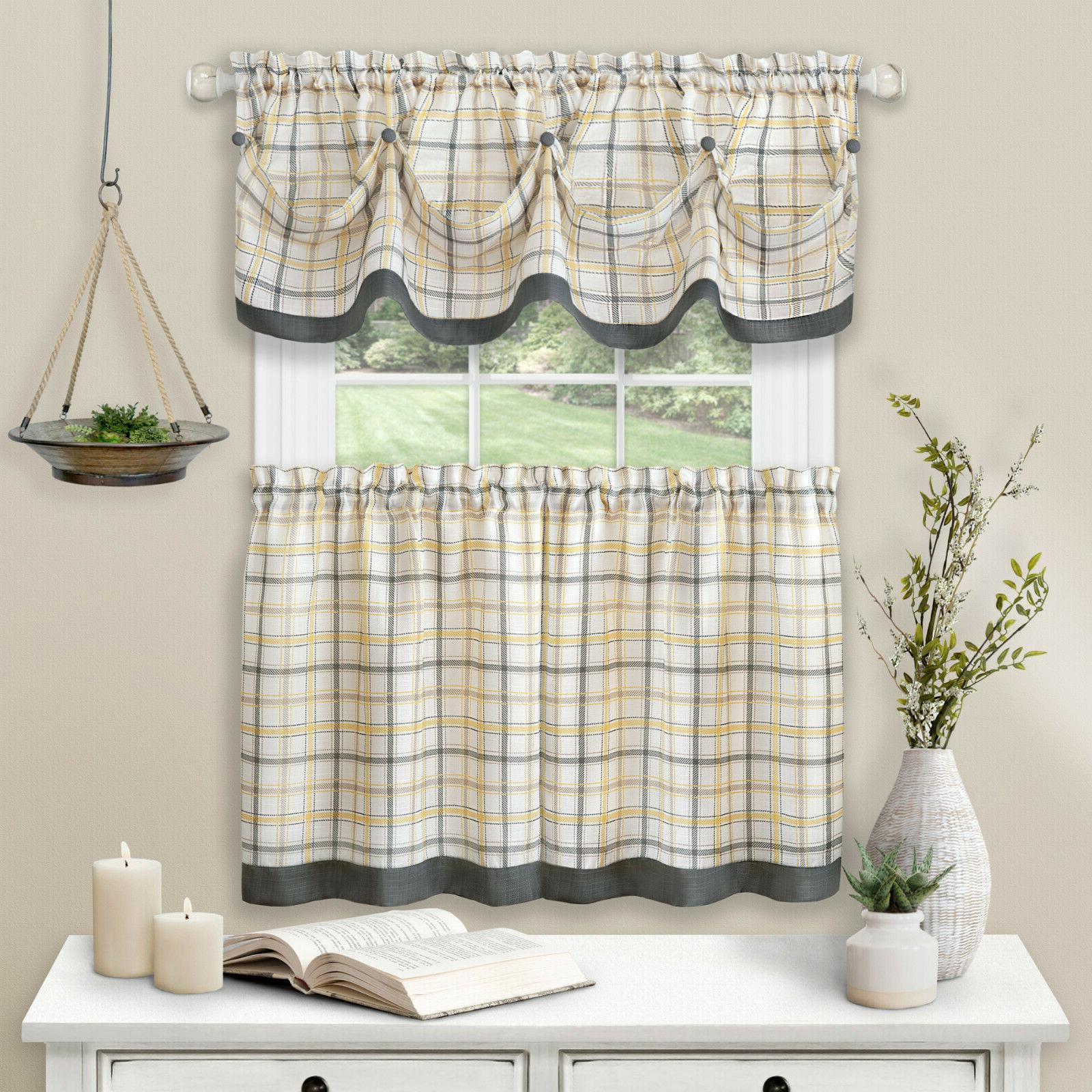Country Plaid Pc Tattersall Cafe Kitchen Curtain & Set
