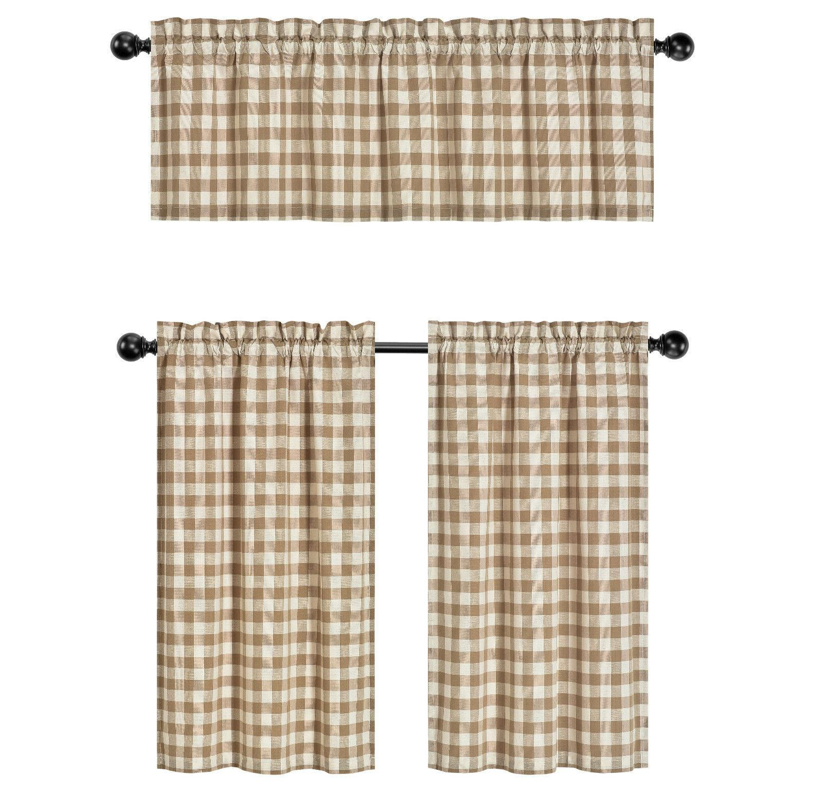 Country Gingham Pc Kitchen & Valance Set - Assorted Colors