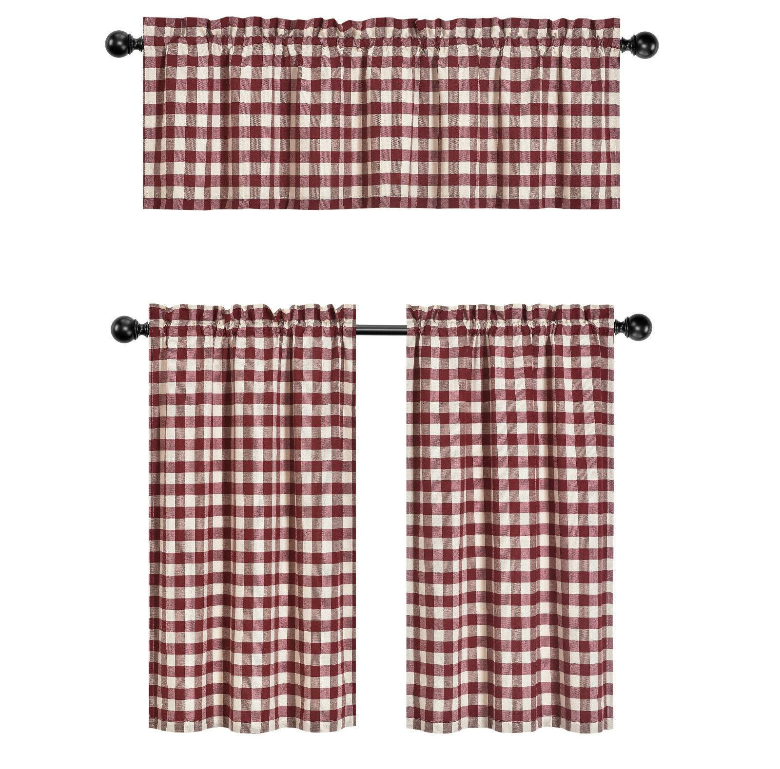 Country Plaid Pc Curtain Tier & Valance Set Assorted Colors