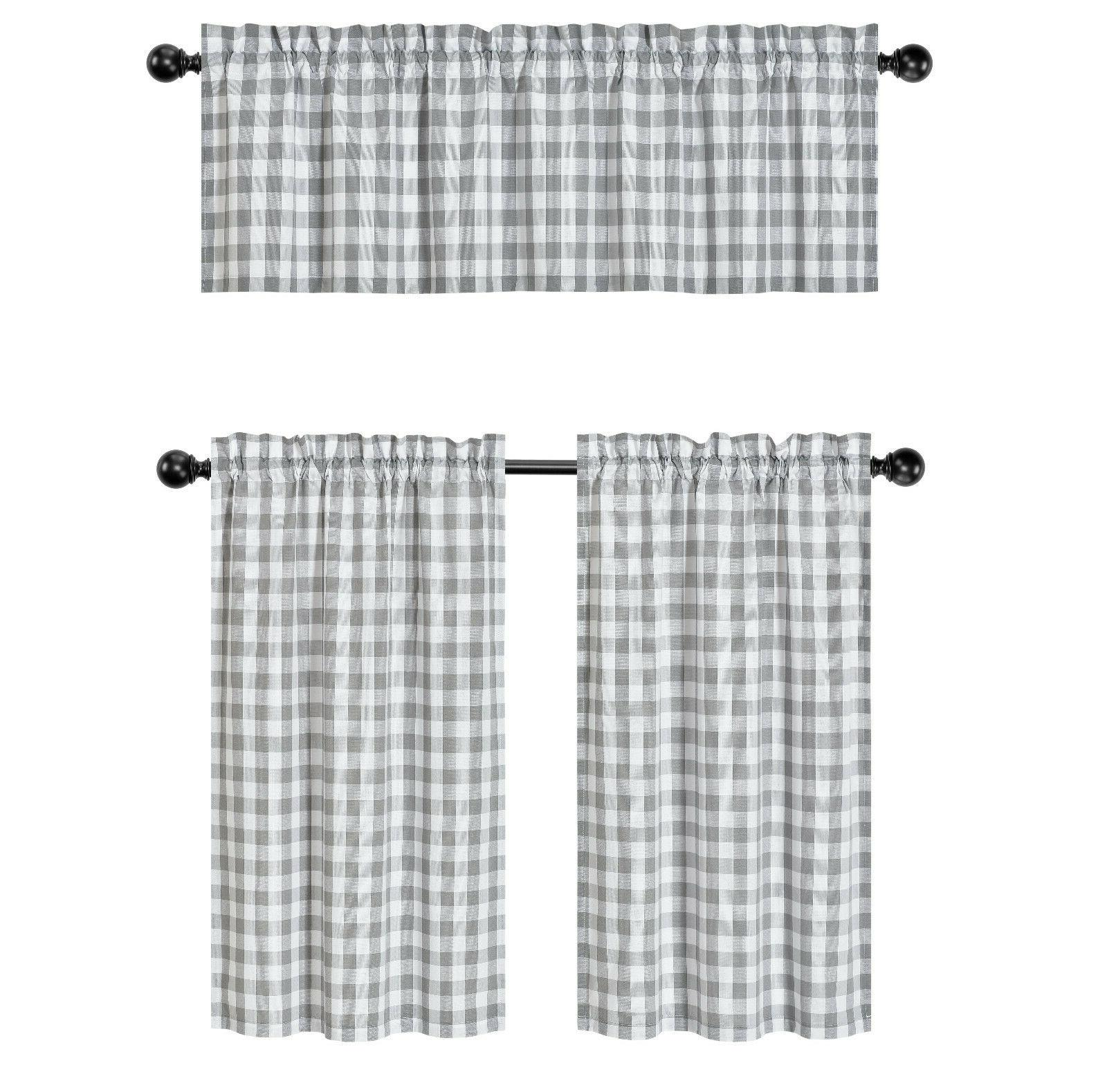 Country Plaid Gingham 3 Pc Kitchen Tier & Valance Assorted Colors