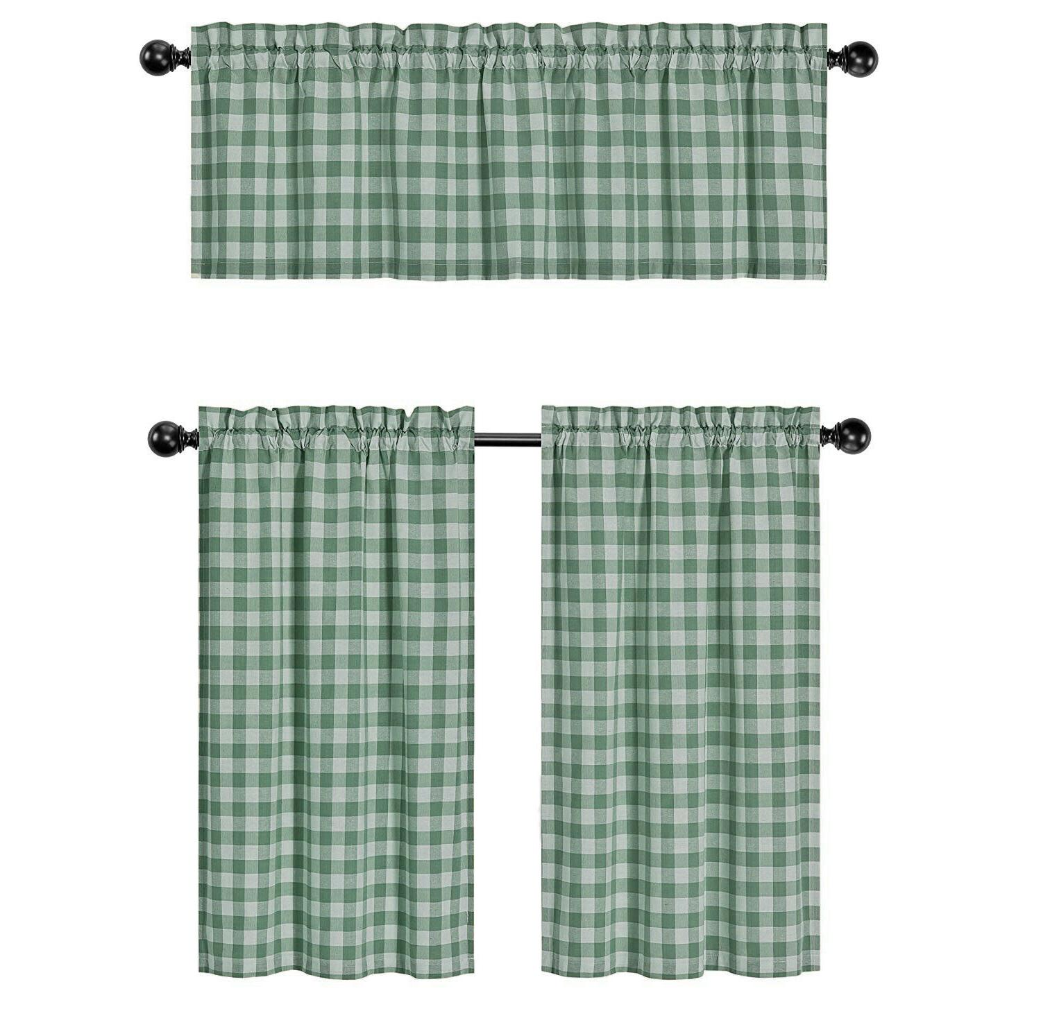 Country Plaid 3 Pc Curtain & Set - Assorted