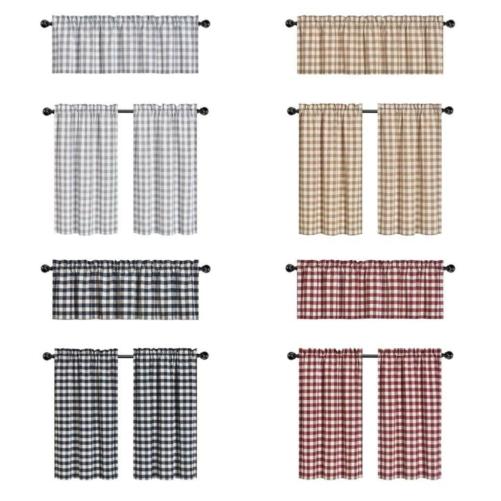 country plaid gingham 3 pc kitchen curtain