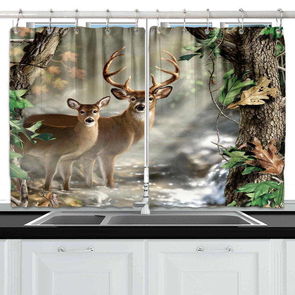 cute deer and tree forest kitchen curtains