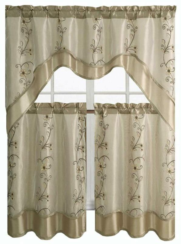 daphne embroidered kitchen curtain set assorted colors