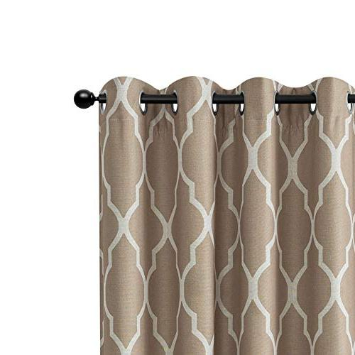 "Dark Panel 45"" for Living Room Curtains Kitchen Insulated Top Flax"