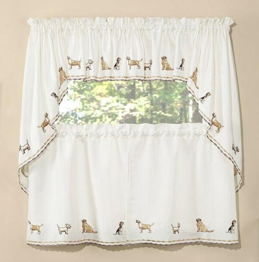 dogs embroidered kitchen curtain collection brand new