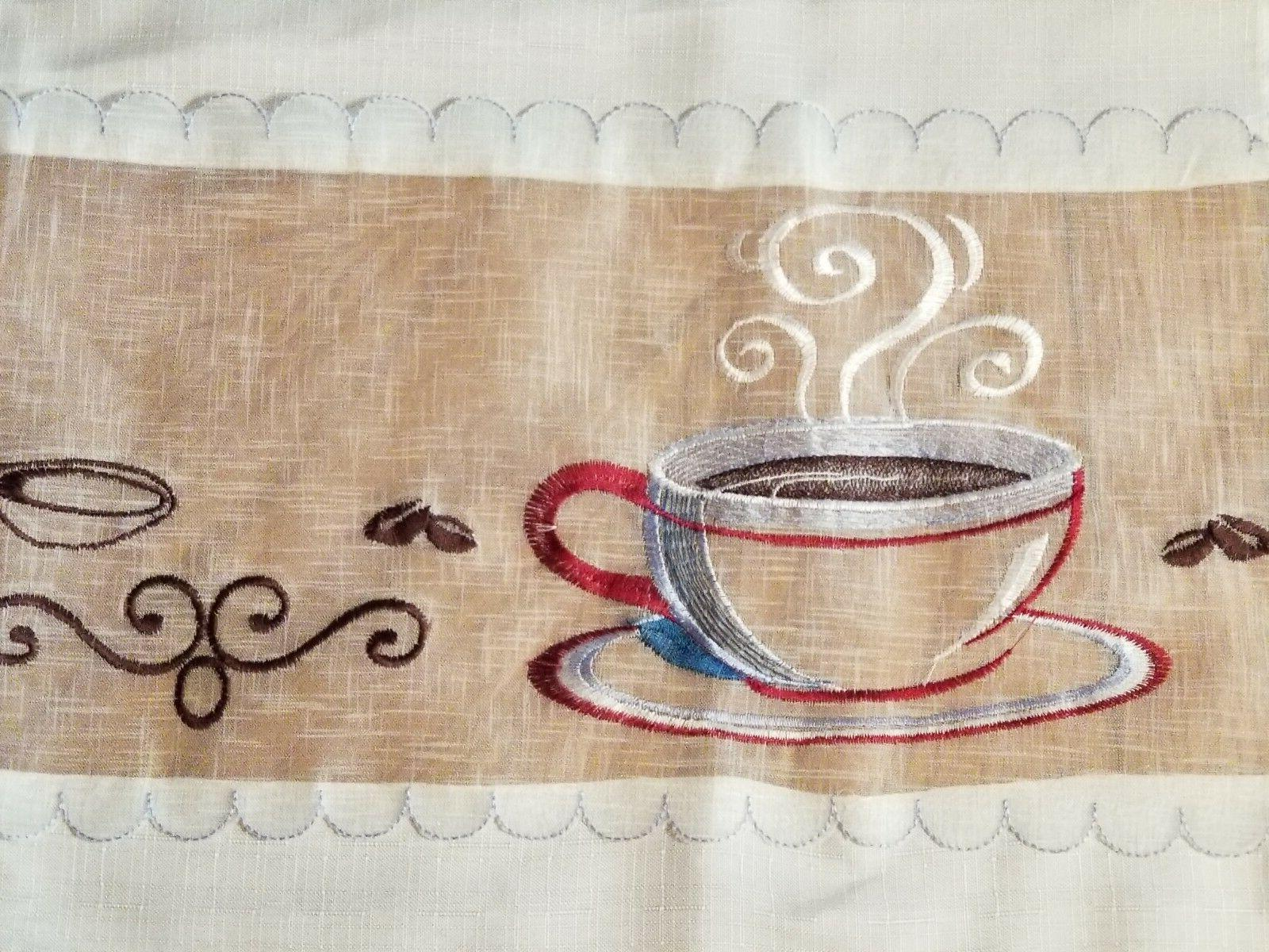 "Embroidered Coffee Curtains Tiers 28"" x 24"""