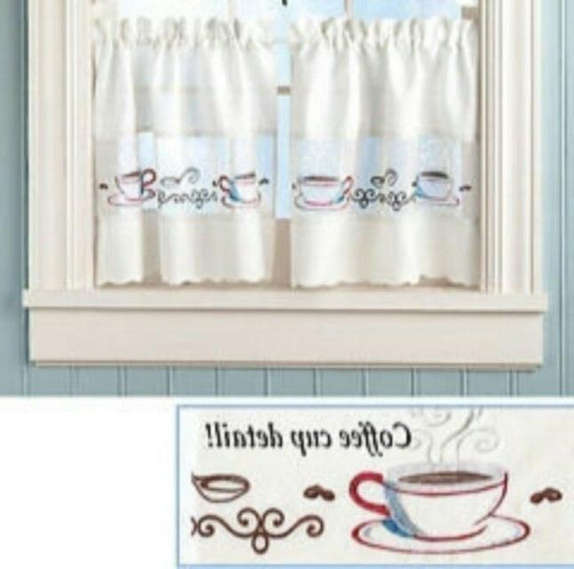 embroidered coffee cup kitchen curtains tiers set