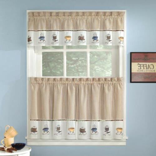 """Embroidered Coffee Kitchen 24"""" Tiers"""
