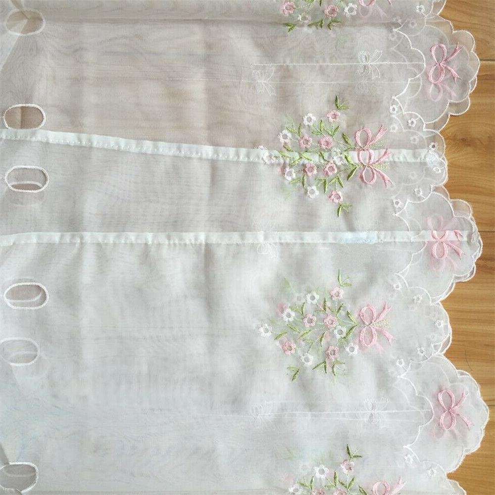 Embroidered Floral Cafe Lace Window Valance Short Panel