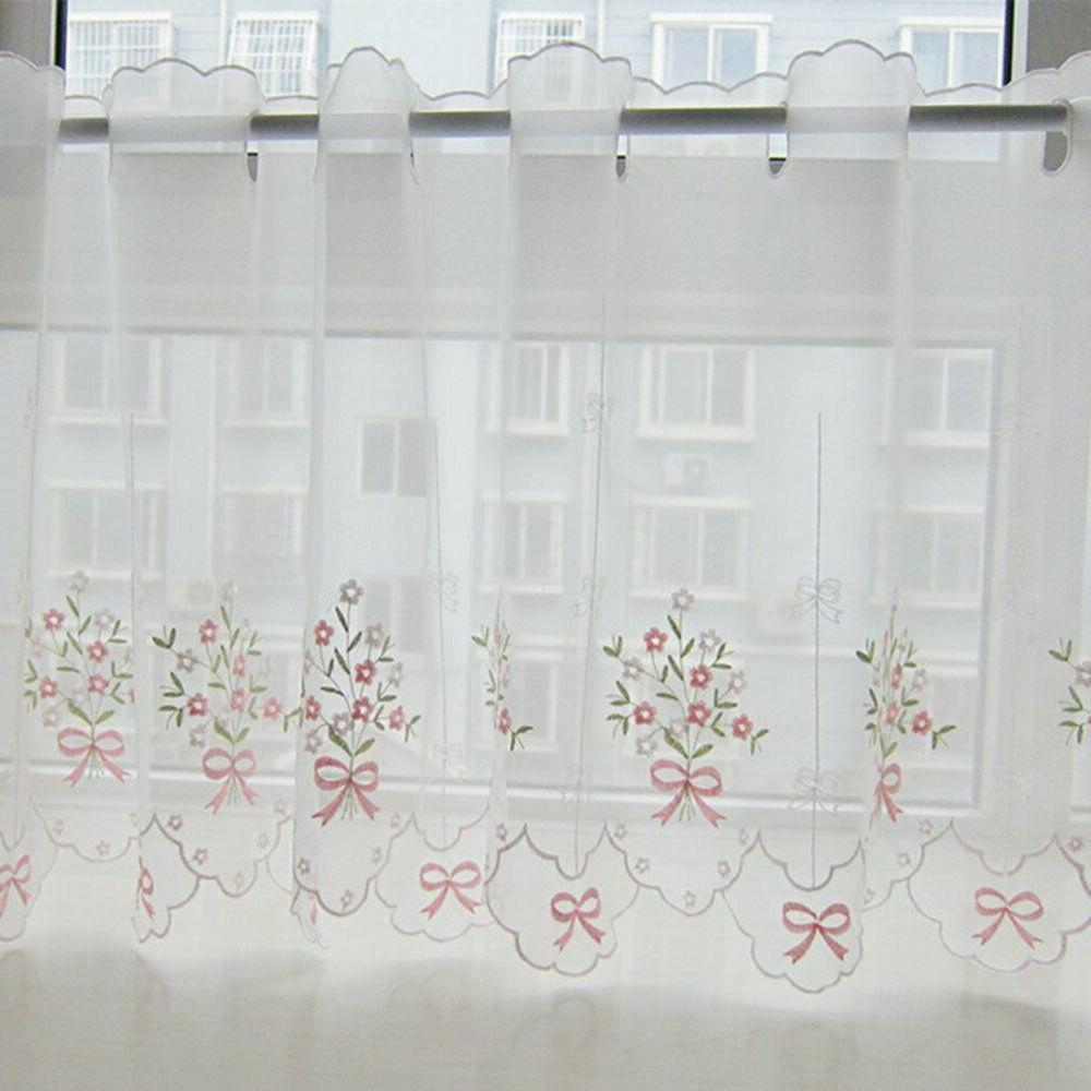 embroidered floral curtain kitchen cafe lace window