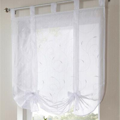 Embroidery Kitchen Window Drape Roman Curtains Tie Up Shade