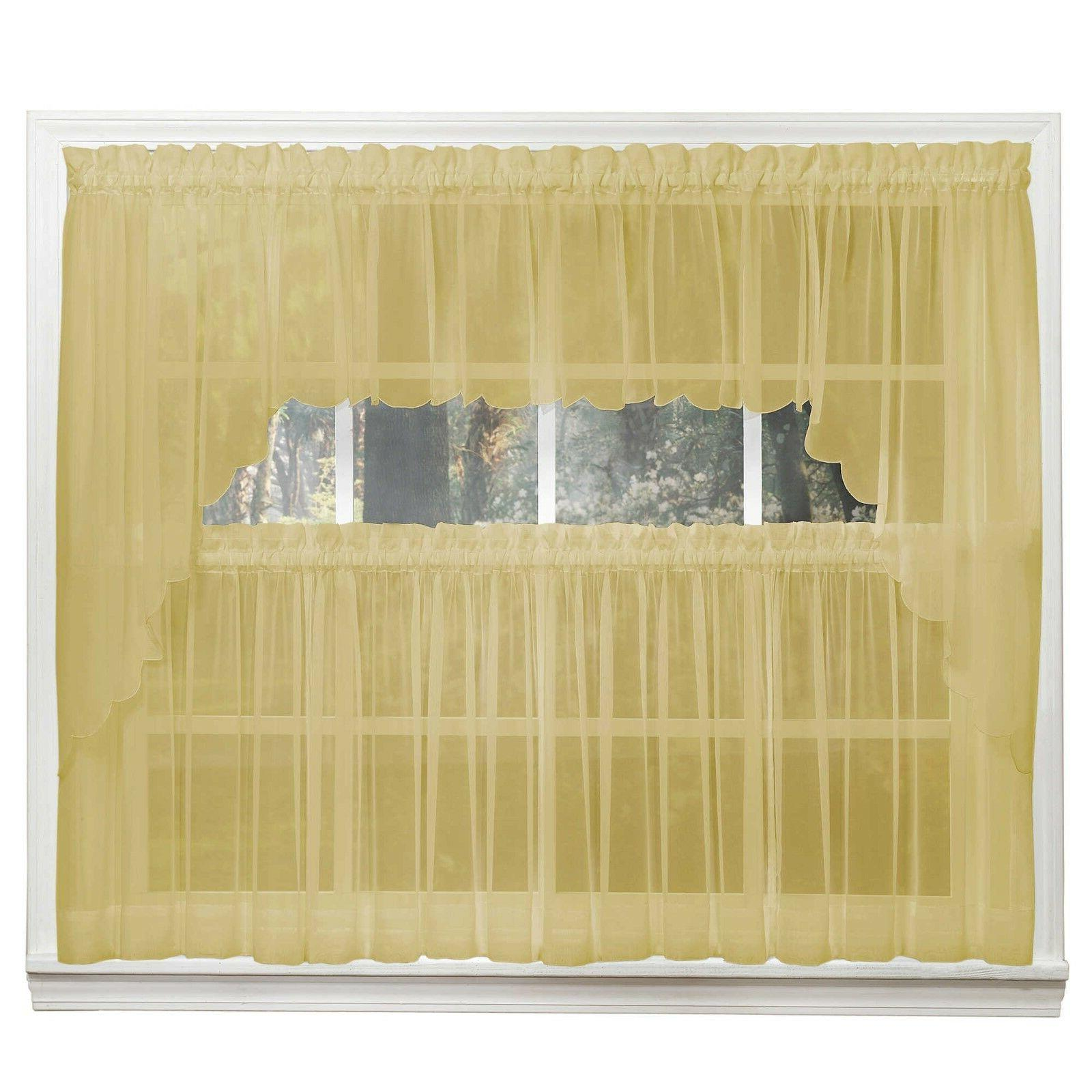 emelia sheer voile kitchen curtain gold tiers
