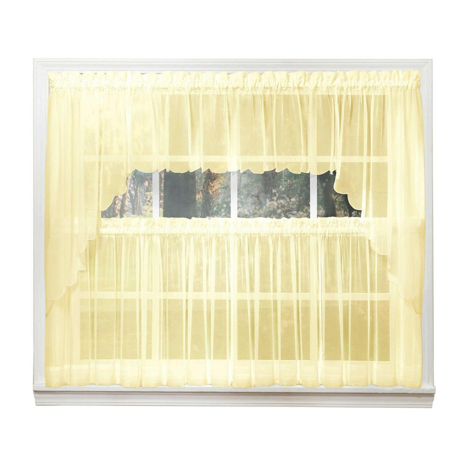 emelia sheer voile kitchen curtain yellow tiers