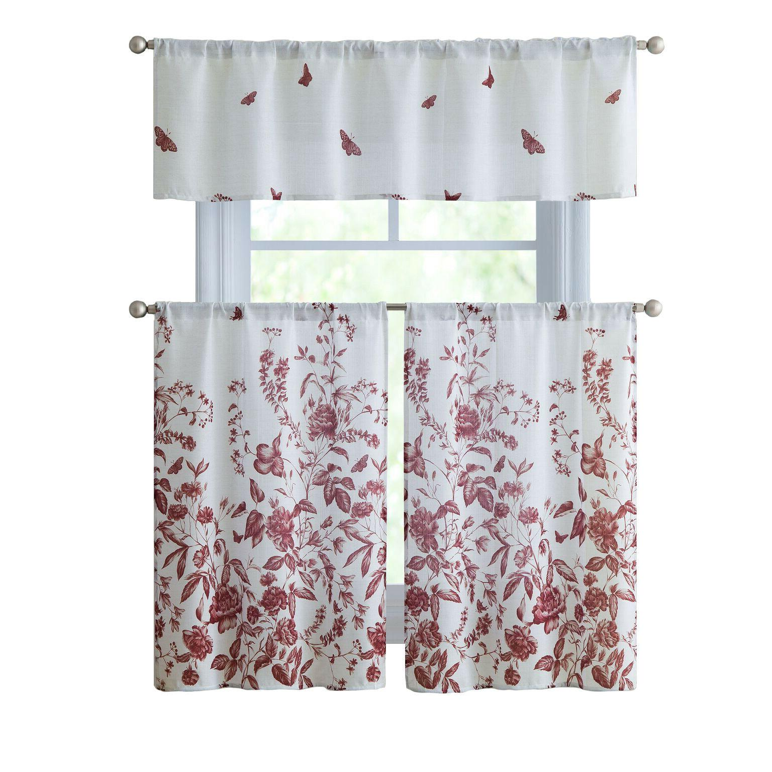 Kate Aurora Living Floral Kitchen Curtain Tier & Valance Set