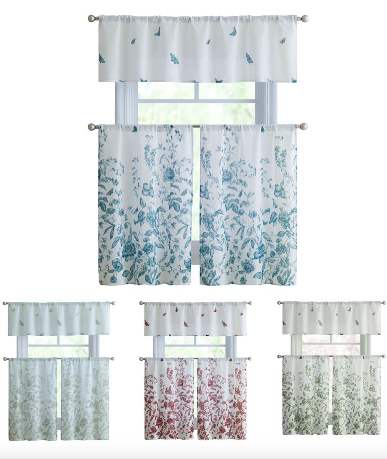 estela floral kitchen curtain tier and valance