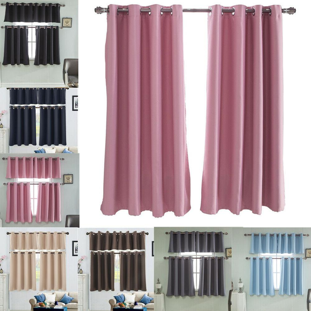 eyelet thermal insulated blackout small window curtain