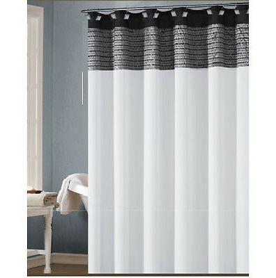 Fabric Shower Curtain: White, Black, and Silver/Gray, Sequin