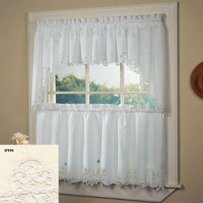 Fancy Collection 3pc Off White with Embroidered Kitchen/cafe