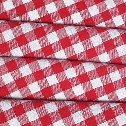 Farm House Buffalo check Plaid cotton fabric -Red/White, Curtains,2 Panels Curtain, Tab Top Set of 2, Gingham Check Gingham