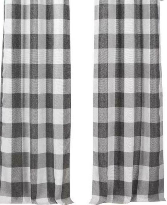 farmhouse gray and white buffalo check curtain