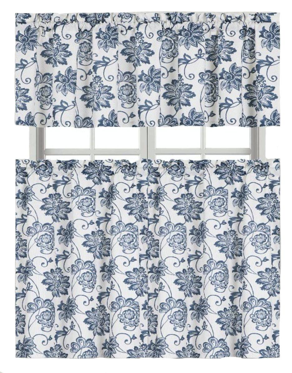 Floral Chic Blue Dye Floral Kitchen Curtain Tier & Valance S