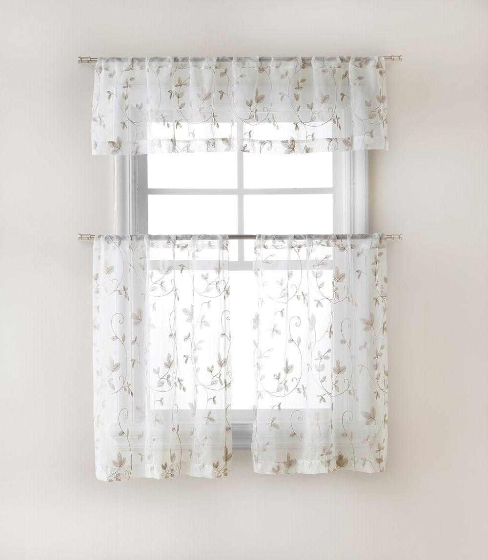 Floral Embroidered Curtain Tier & Valance Set Assorted Colors