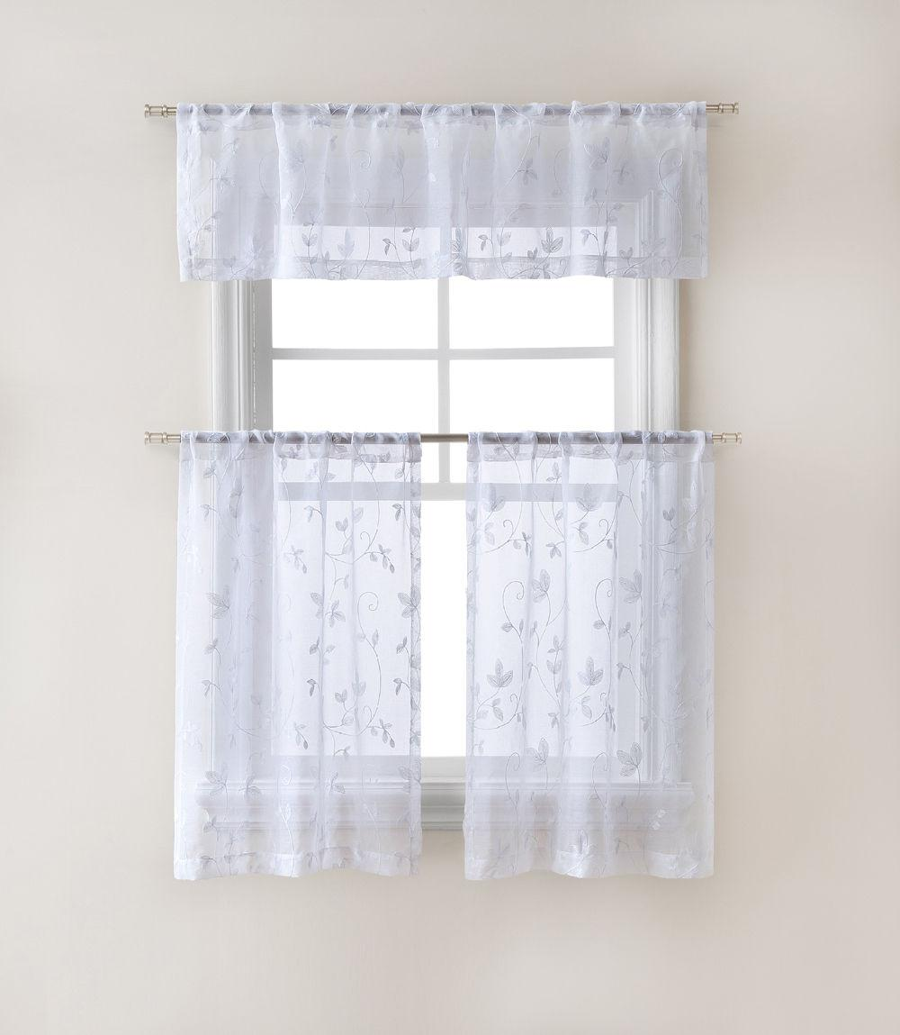 Floral Sheer Curtain Tier Set Assorted