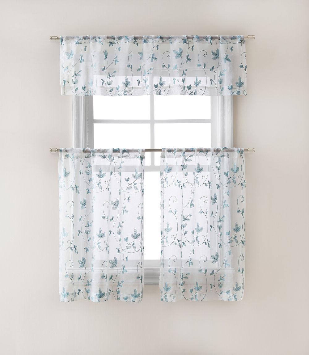 floral embroidered sheer kitchen curtain tier
