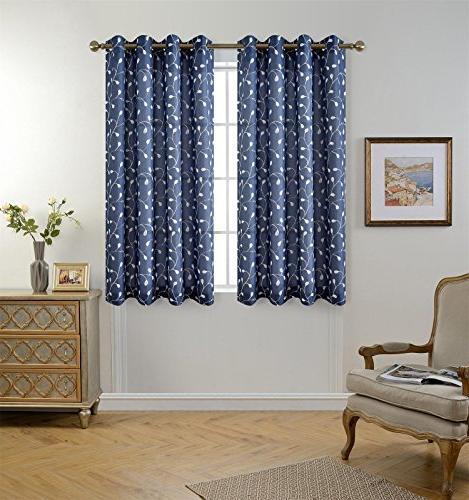 Miuco Sheer Curtains Faux Grommet Curtains Living Room 52 63 2 Panels, Navy